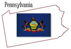 Stock Illustration of pennsylvania state map and flag