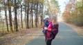 child, little baby kid toddler  with mother on walk in the autumn HD Footage
