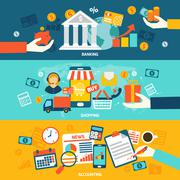 Accounting flat banners - stock illustration