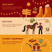Cowboy banners flat Stock Illustration