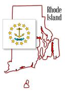 Rhode island state map and flag Stock Illustration