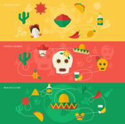 Mexico flat banner set - stock illustration