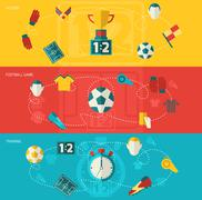 Soccer icons flat - stock illustration