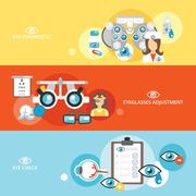 Oculist banner set - stock illustration