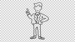 Male Character 1 cartoon illustration hand drawn animation transparent backgroun Stock Footage