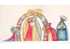 Christmas Nativity scene. Jesus, Mary, Joseph - stock illustration