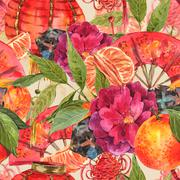 Seamless Watercolor Chinese New Year Background Piirros