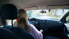 Woman female miss motorist driving.  Female, miss, lady driver in car Stock Footage