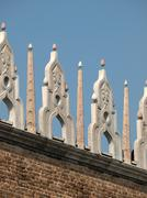characteristic architectural ornaments on the edge of a roof of the doges' pa - stock photo