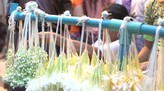 Yangon, offering flowers Stock Footage