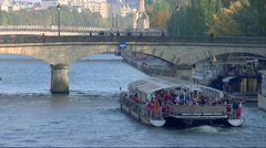 Paris, bateau mouche crossing the Seine- Île de la Cité 007 Stock Footage