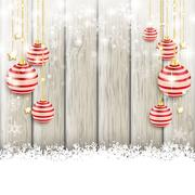 Snowfall red baubles ash wooden background Stock Illustration
