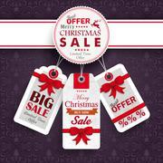 white emblem christmas price stickers purple ornaments - stock illustration