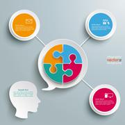 Head speech bubble circle puzzle Stock Illustration