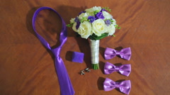 Marriage, wedding. Accessories of the groom and wedding bouquet of the bride Stock Footage