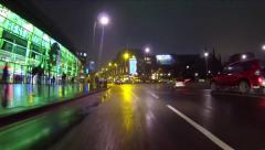 Fast Car Driving Through City at Night Time Lapse Arkistovideo