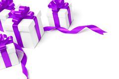 White gift box with purple ribbon bow Stock Photos