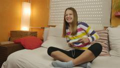 4K: Teenage Winning Playing Wii Stock Footage
