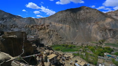 Mountain village in the valley of Lamayuru - view from the roof of the gompa Stock Footage