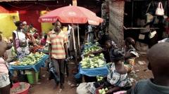 Africa Bandim street city market Guinea Bisseau Stock Footage