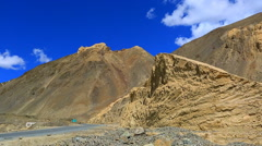 Panorama of the moonland at the low point of the road Stock Footage