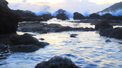Beach Rocks In Water With Crashing Waves Silhouette Dusk Sunset Stock Footage