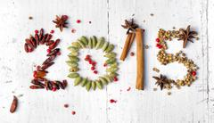 2015 with spices,chilies and seeds Stock Photos