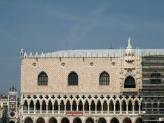 the facade of doges palace -venice. italy - stock photo