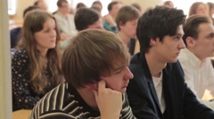 Students listening to a lecture, Dolly shot Stock Footage