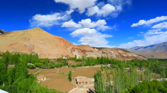 Panorama of mountain village in the valley of the pass Fatula Stock Footage