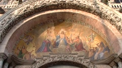 Venezia, Venice, exterior frescoes of the Cathedral of St. Mark 020 Stock Footage