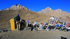 Buddhist flags Lungta on Fatula la Stock Footage