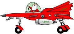 Santa in a starfighter Stock Illustration