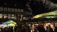 4k Christmas fair medieval city panning shot Stock Footage