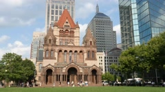4K Trinity Church Boston Stock Footage