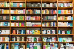 Bookshelf In Library Stock Photos