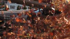 Leaves flying toward camera Stock Footage