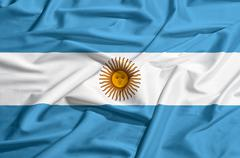 Stock Illustration of argentina flag on a silk drape waving