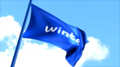 Flag Winter waving blue sky, day time. Stock Footage