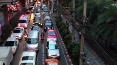Ambulance stuck in traffic at sukhumvit, Bangkok Thailand, Asia Stock Footage