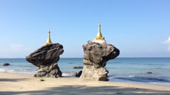 Kyauk Maumghnama Pagoda at Ngwe Saung Beach, Myanmar, Burma Stock Footage