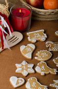 Processing of gingerbread advent calendar Stock Photos