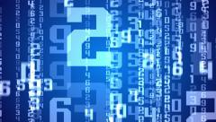Digital white numbers as code rain on a blue background Stock Footage