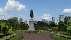 4K Washington Statue Boston Public Gardens Stock Footage