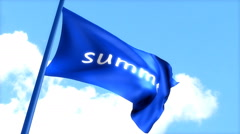 Flag Summer waving blue sky, day time. Stock Footage