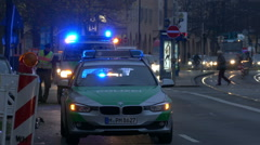 4K UHD FHD Out-Focus Policemen Police car Ambulance in Crime / Emergency Scene - stock footage