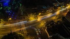 Shanghai at Night Junction Traffic Stock Footage