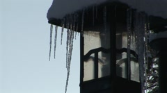 Icicles On Lamppost Stock Footage