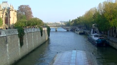 Paris, bateau mouche crossing the Seine - Notre Dame - Île de la Cité 006 Stock Footage