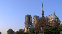 Notre Dame  with bateau mouche on the Seine - Île de la Cité 005 Stock Footage